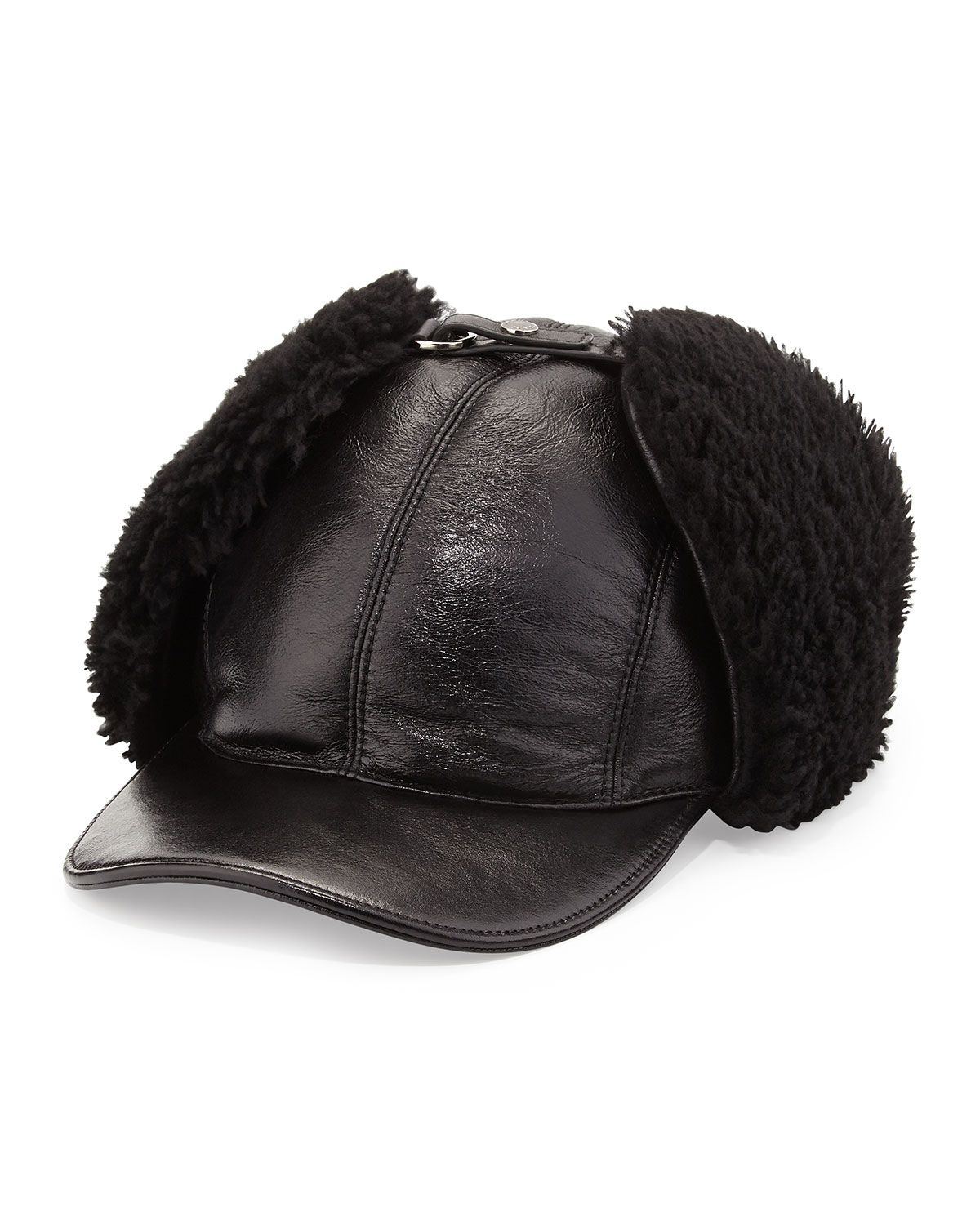 Prada Leather and Shearling Trapper Baseball Cap c0ca49f2e12a