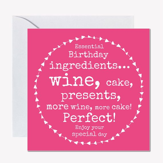 Female Birthday Card Cake Lover Wine Pink Funny For A Friend