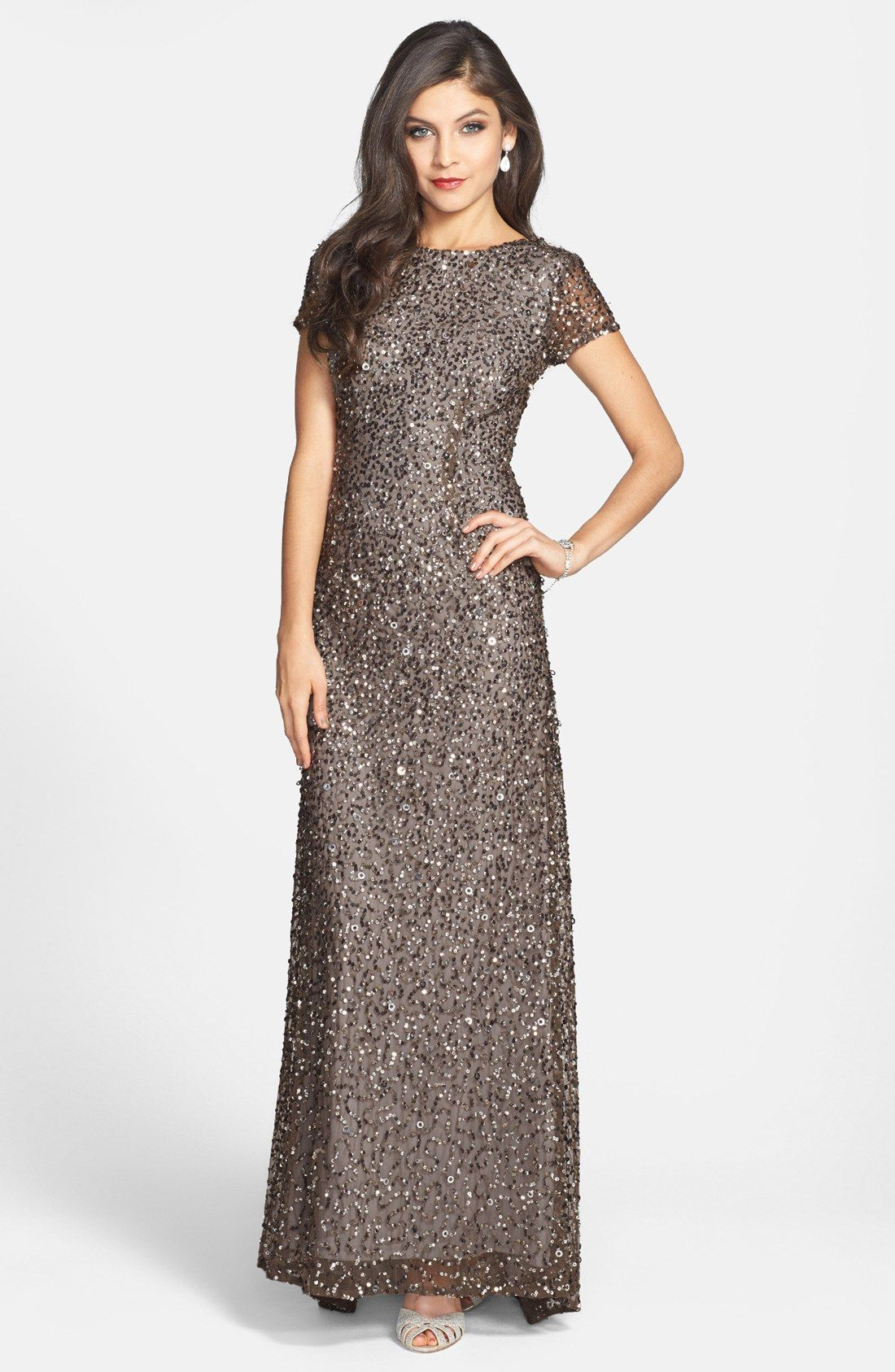 Adrianna papell gown short sleeve deco - Short Sleeve Sequin Mesh Gown