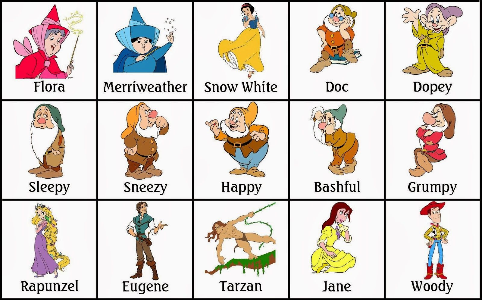 Bingo de Personajes Disney, para Imprimir Gratis. | Paper Doll ...