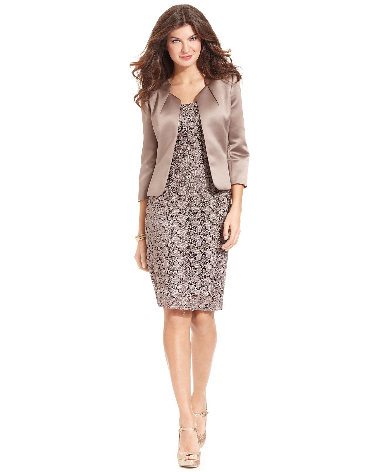 Tahari by ASL Suit, Satin Jacket & Lace Sheath Dress - - Macy's