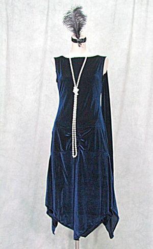 navy blue 1920s gatsby flapper speakeasy dress 1920s