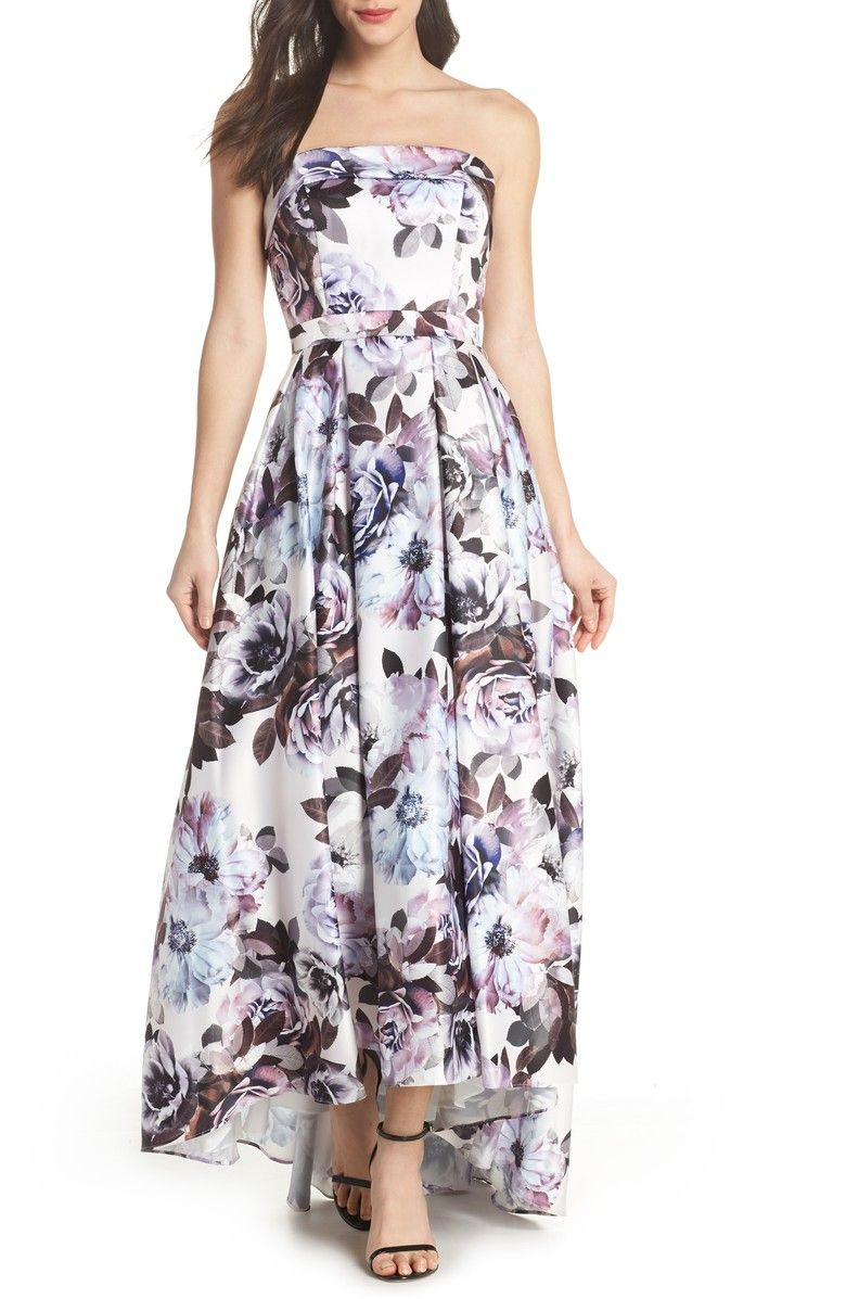 Floral bustier highlow gown main color blue multi beach