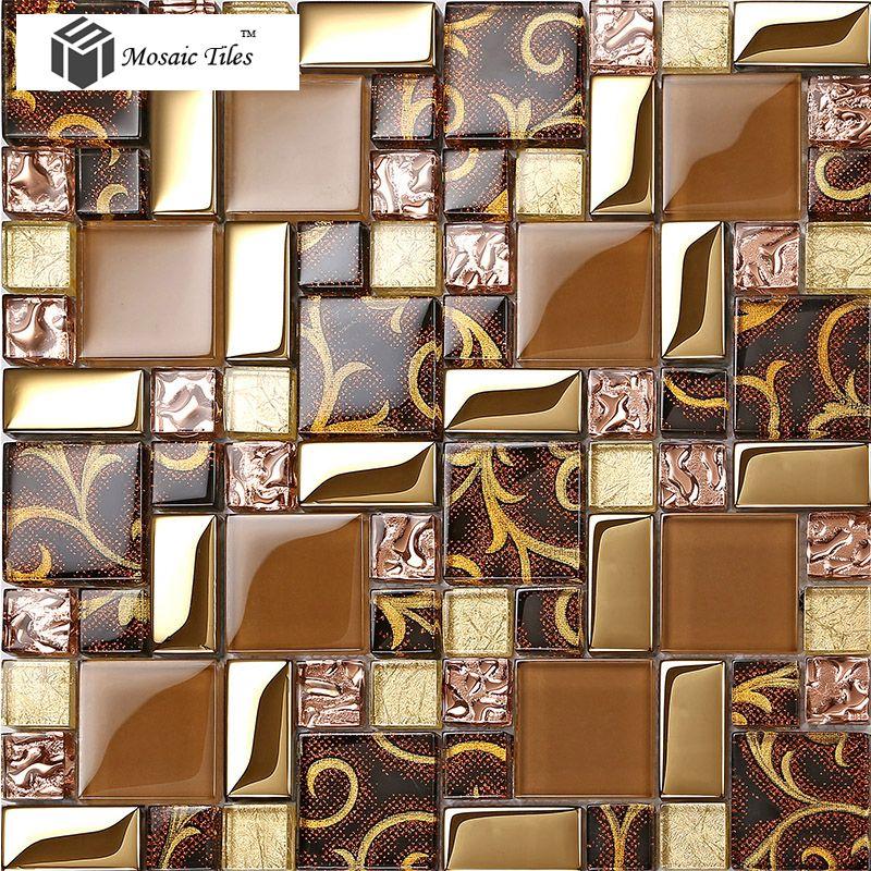 TST Crystal Glass Tiles Golden Glass Tiles Mosaic Inner Flowery ...