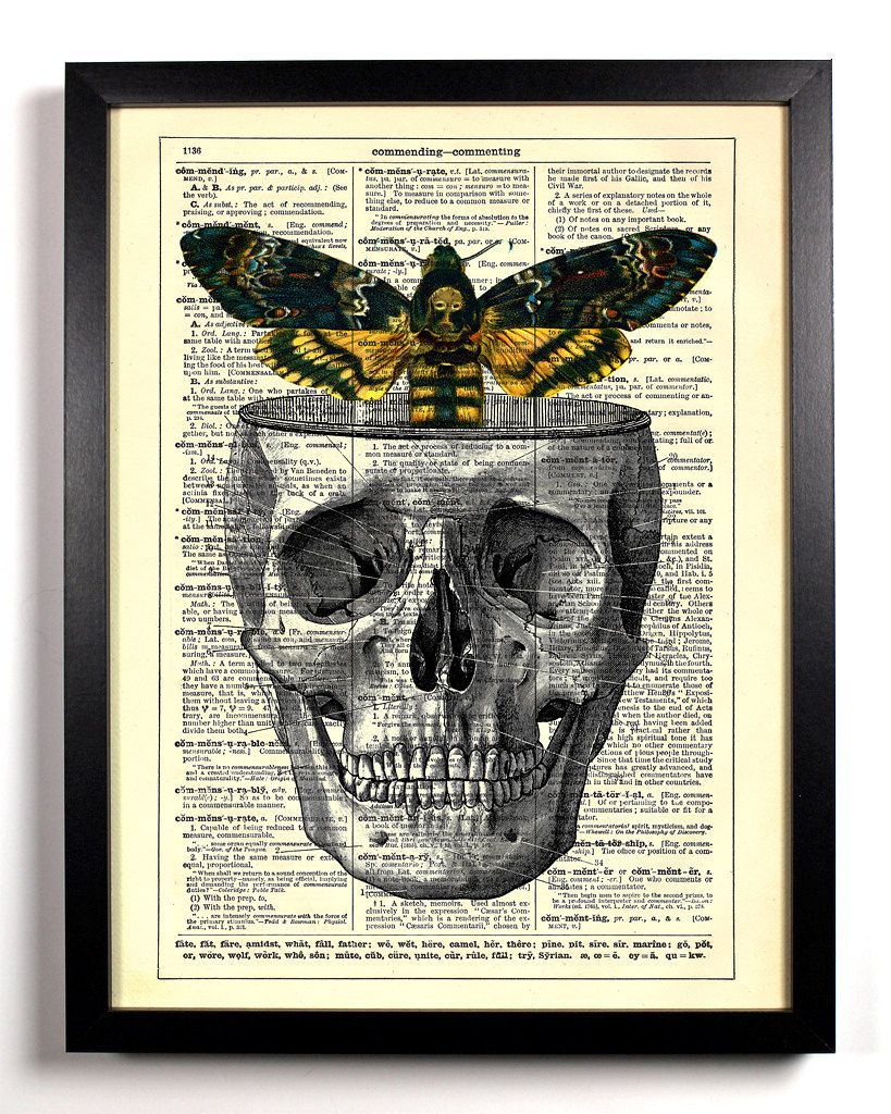 Moths In The Attic Repurposed Book Upcycled Dictionary Art