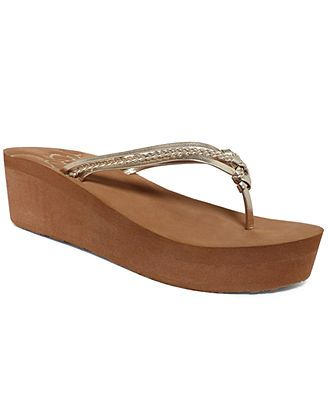 01741351a08 Roxy Puka Platform Wedge Thong Sandals