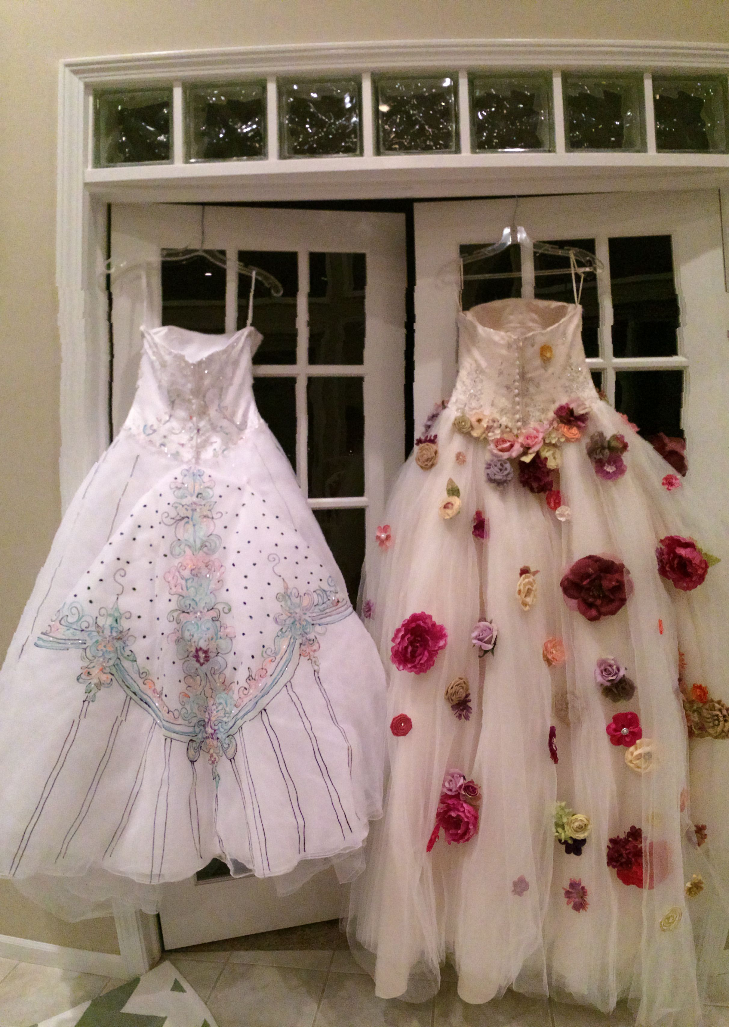 Repurposed Wedding Dresses Puffy Paint And Hot Glued Flowers Got The Dresses At A Dress Auc Diy Prom Dress Wedding Dress Brands Wedding Dress Sewing Patterns [ 3412 x 2424 Pixel ]