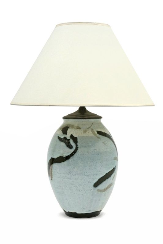 Abstract Ceramic Table Lamp In Light Blue White And Black France
