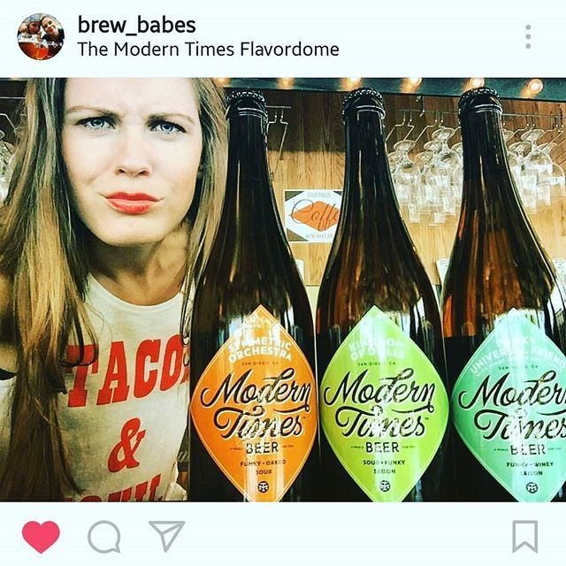 We really love the mug on one of the @brew_babes and of course these great labels on a classic @moderntimesbeer bottle - fun! #beer #brew