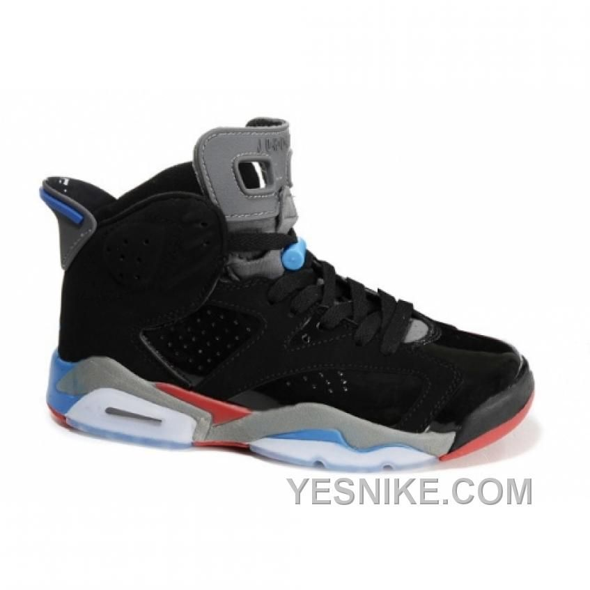 2ab1d0ee1b1ca0 BIG DISCOUNT! 66% OFF! AIR JORDAN RETRO 6 (GS) BLACK RED BLUE WHITE Only   78.00