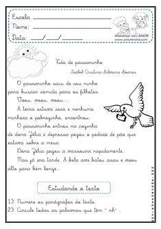 Alfabetizar Com Amor Vida De Passarinho Texto E Interpretacao