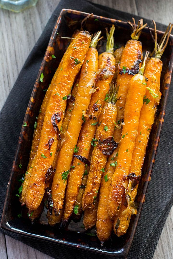 Buttery Balsamic Garlic Roasted Carrots #dinnersidedishes