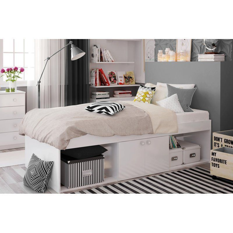 Wooden White Single Bed Cabin Storage Shelves Door Children Bedroom Furniture Single Beds With Storage Bed With Drawers Bedroom Interior