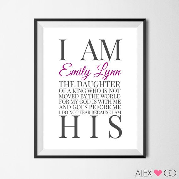 I Am The Daughter Of A King Printable Personalized Baptism Gift