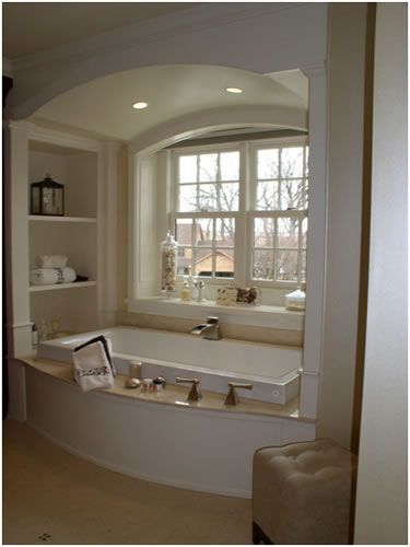 Arch and built in shelves the necessary pinterest for Bathroom alcove shelves