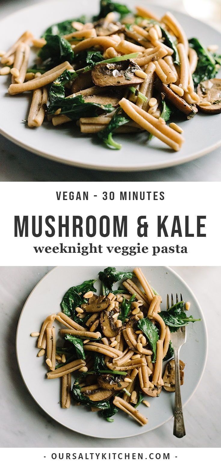 Kale Mushroom Pasta with Toasted Pine Nuts images