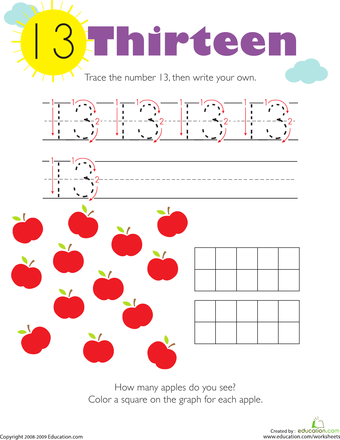 Tracing Numbers & Counting: 13 | Worksheets, Count and Number