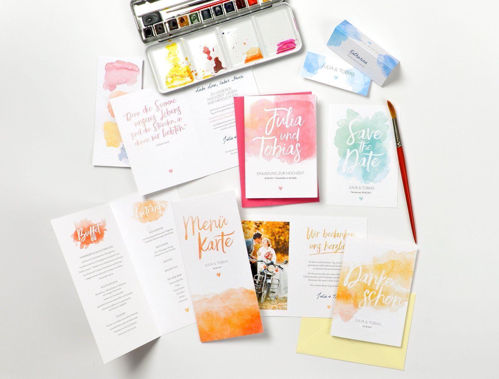 Pastel Aquarelle Hochzeitskartendesign Karte Hochzeit