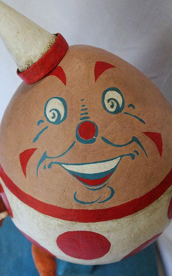 Paper mache clay Humpty Dumpty art doll por graphicbakehouse