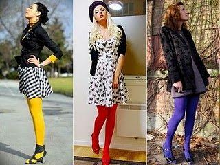 Looks com meia calça colorida - show para inverno