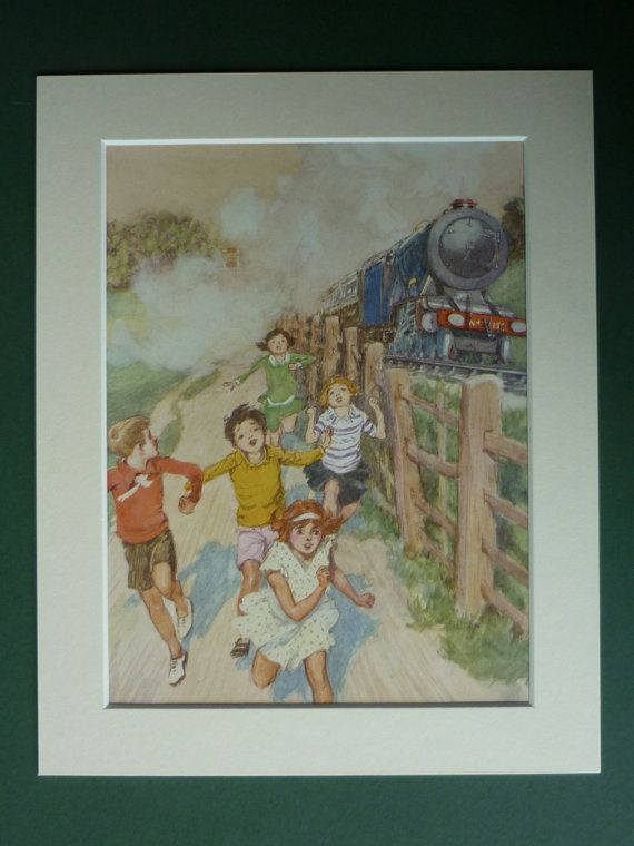 Original 1930s Print Of Children Racing A by PrimrosePrints, £15.00 Old Steam Train - Steam Engine - Vintage Print - Locomotive - Race - Antique Print