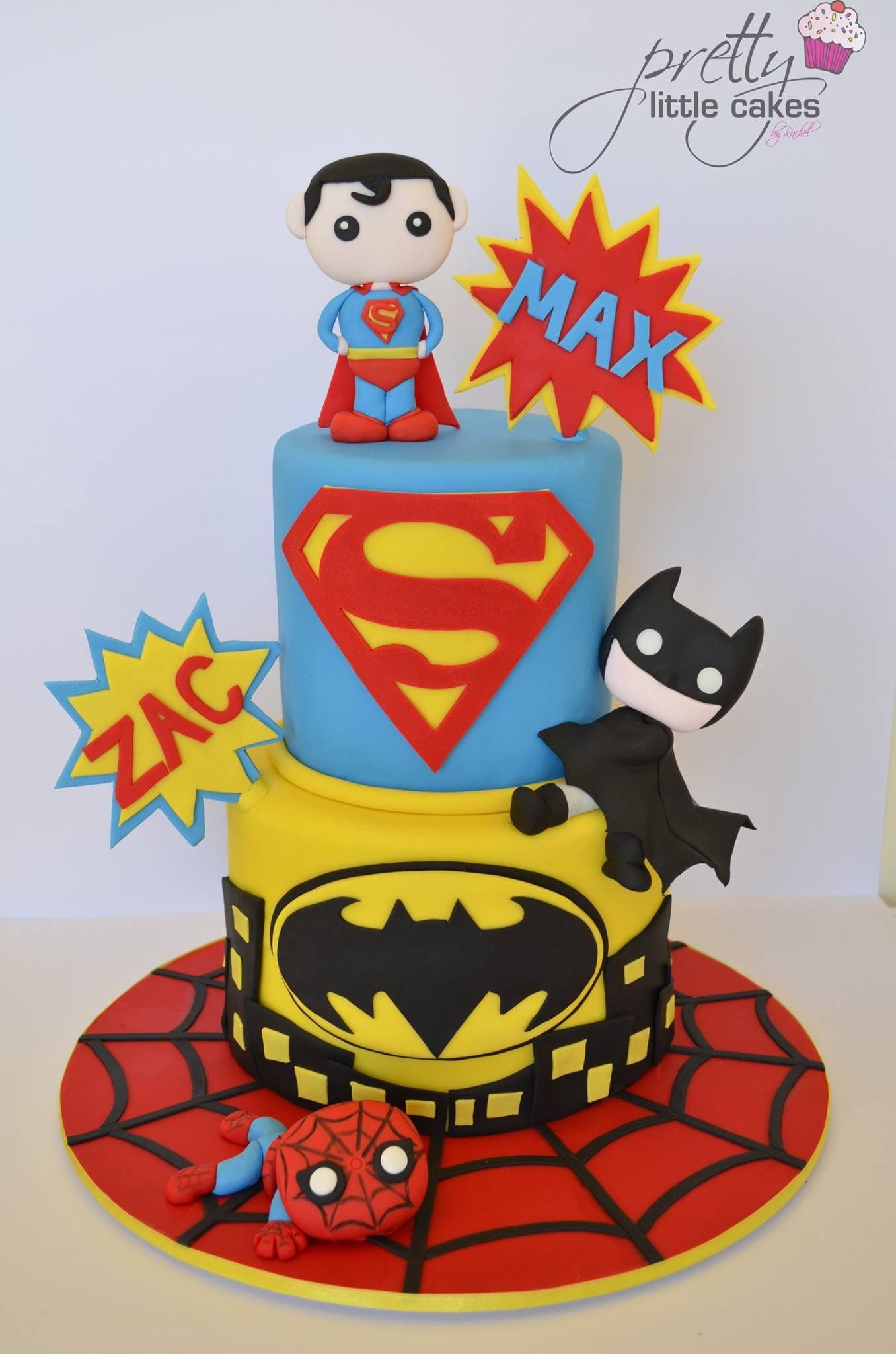 Super Heroes Birthday Cake by Pretty Little Cakes by Rachel