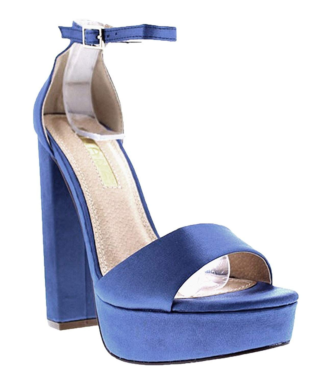 bc84f781ce7 Liliana Platform Basic Heel Open Toe Satin Ankle Strap Chunky Block ...