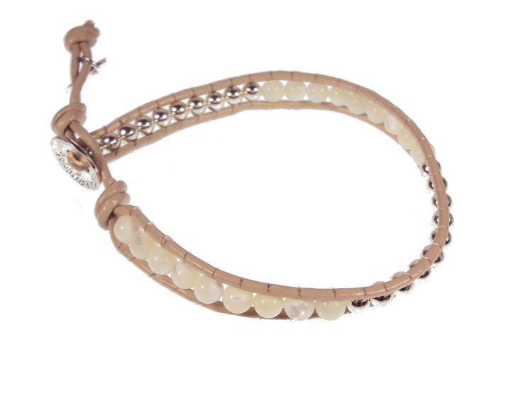 Boho Betty glampagne shine leather bracelet  £12.50 www.fizzy-flower.co.uk  #leatherwrapbracelet #taupeleatherbracelet