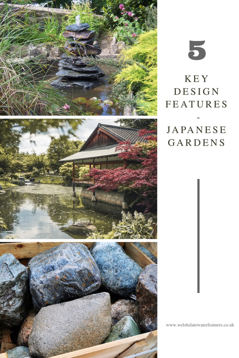 Japanese gardens are widely renowned for their transcendent beauty, with meticulously thought out designs creating space to be present & mindful. The 5 key features of Japanese garden design reveal the deep connections and relationships of these elements to their history & culture. #waterfeatures #gardenblog #japanesegardendesign #gardendesign #gardendesignideas #zengarden #meditationgarden #mindfulness #gardenideas #gardening