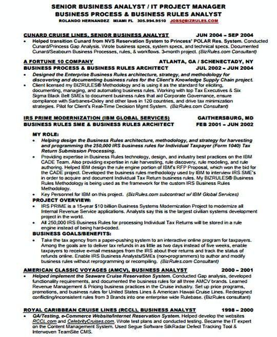 Senior It Business Analyst Resume Template  It Infrastructure
