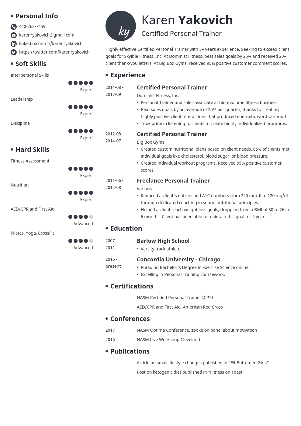 personal trainer resume example template initials in 2020