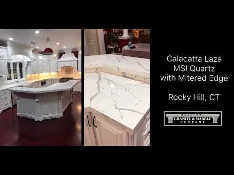 Best Calacatta Laza Msi Quartz With Mitered Edge Youtube 400 x 300