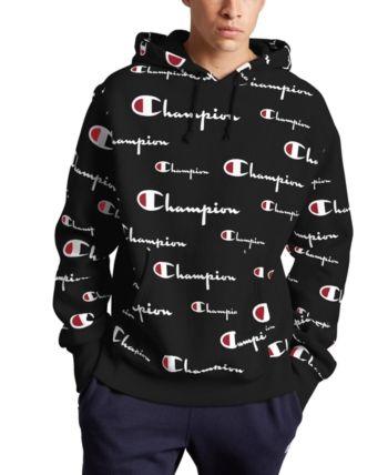 Champion Men's Logo Print Hoodie Black   Mens sweatshirts