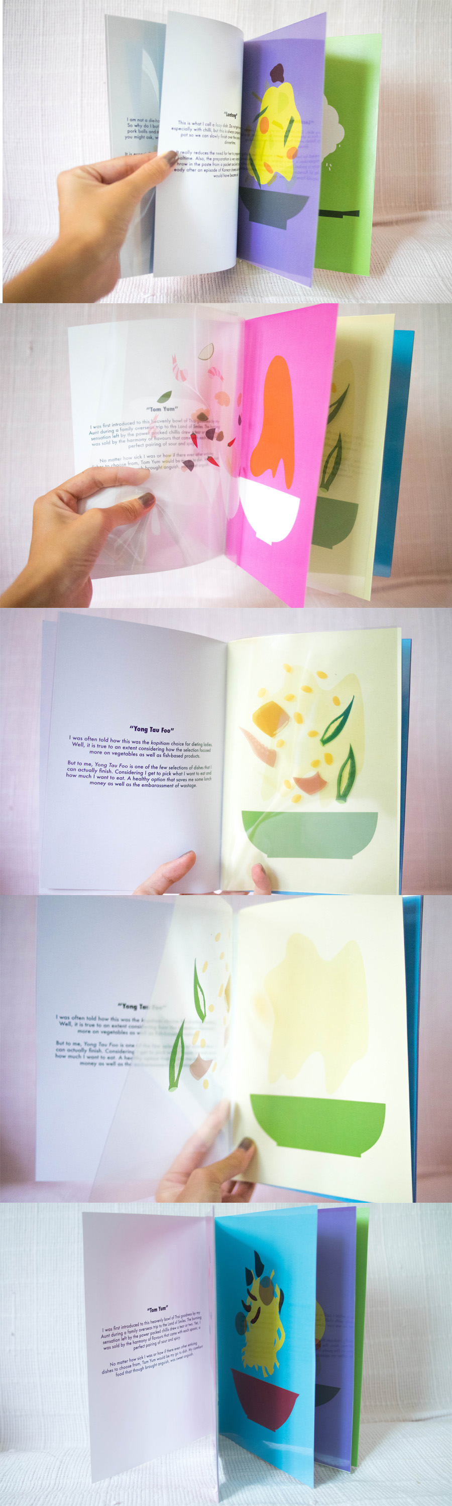 """Documentation of the hardcopy of my zine, """"Makan"""".   Materials used: - Transparency - Art Card"""