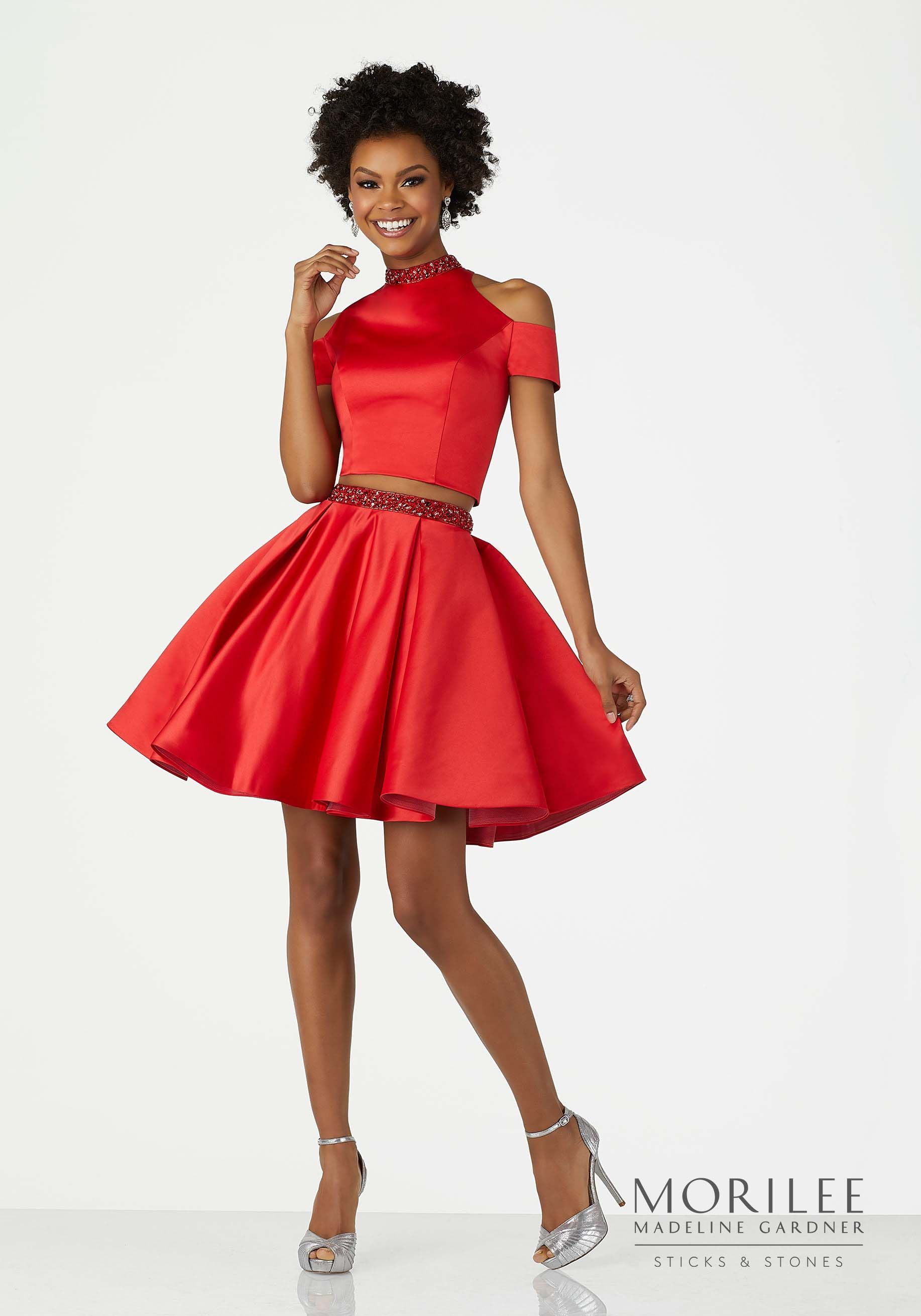 0e49afd373 Red Two Piece Satin Cocktail Dress with Beaded Trim and Cold Shoulder High  Neckline. A-Line Skirt. Colors Available  Navy