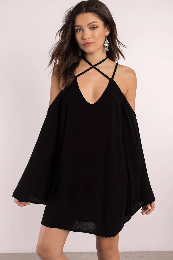 Vanessa cold shoulder shift dress bohemian chic fashion and black