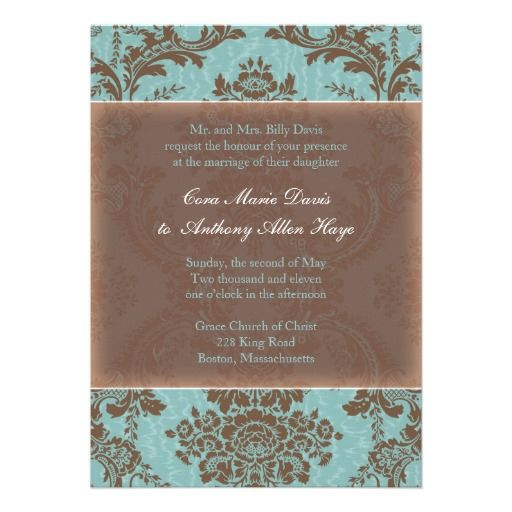 Tiffany Blue Elegant Damask Wedding Invitation
