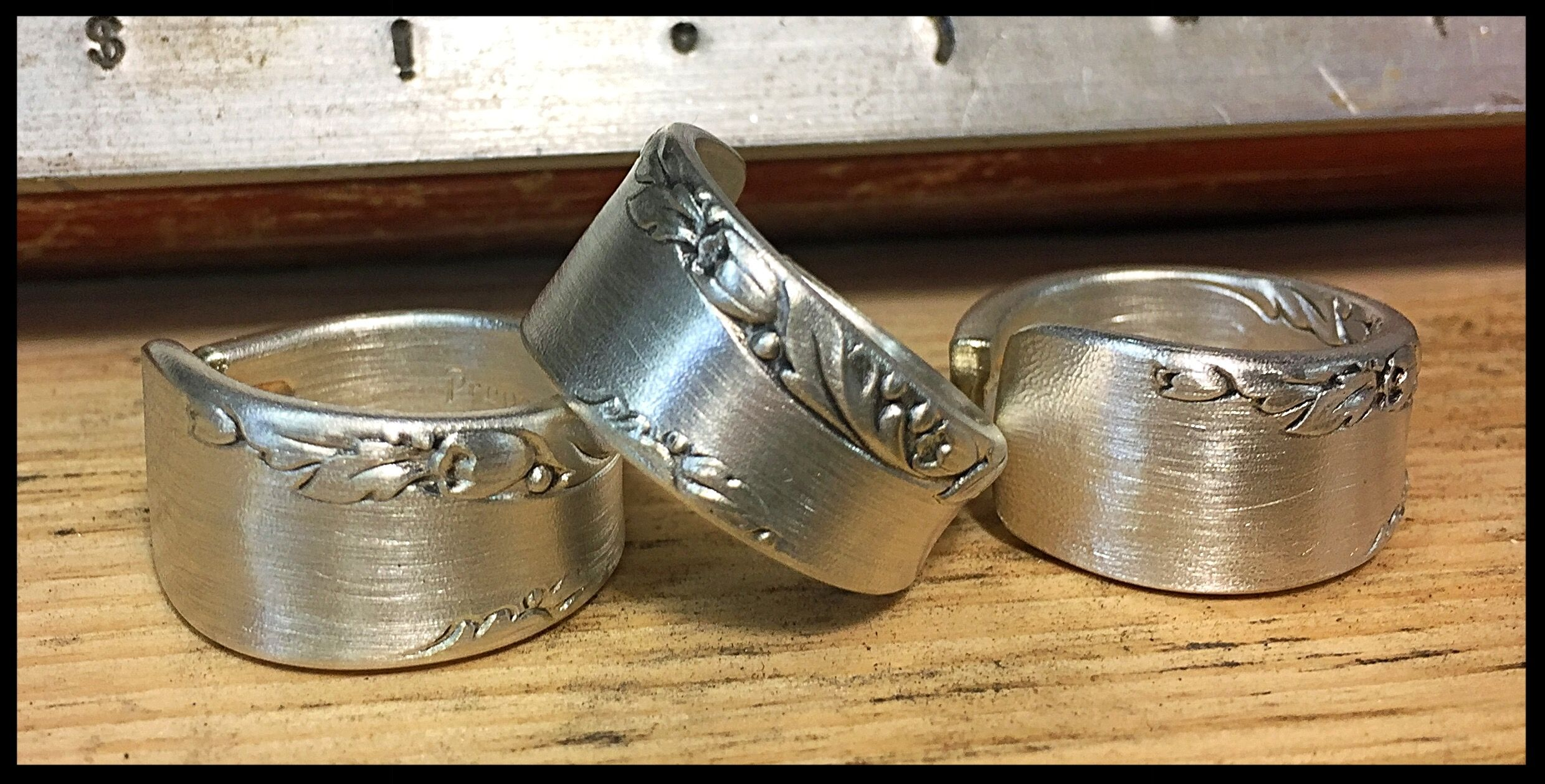 Custom order- stamped (inside) silver spoon/fork handle cuff style rings- made for Julie's Junktique on Etsy.com