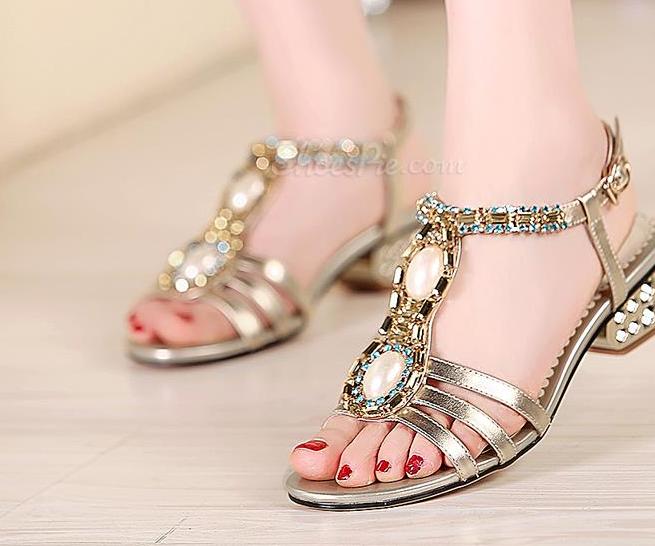 Shoespie Rhinestone Beading Flat Sandals