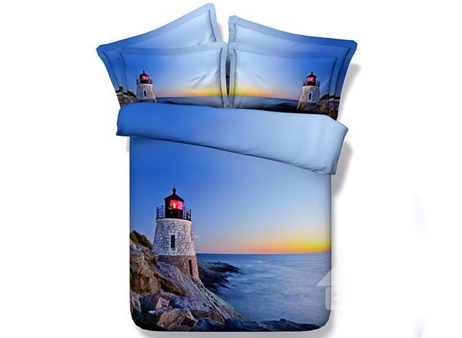 Lighthouse Sea Scenery Print Blue 4 Piece Duvet Cover Sets