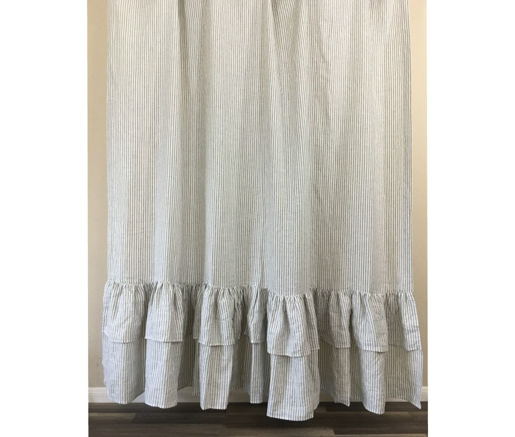 Grey And White Striped Shower Curtain With 2 Tiered Mermaid