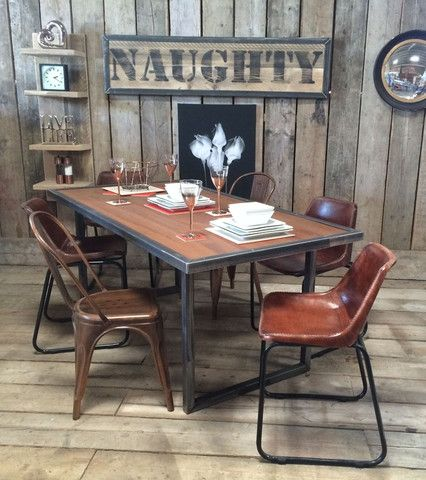 Charming VINTAGE INDUSTRIAL RUSTIC RECLAIMED PLANK RUST EFFECT TOP U FRAME DINING  TABLE (HANDMADE UK