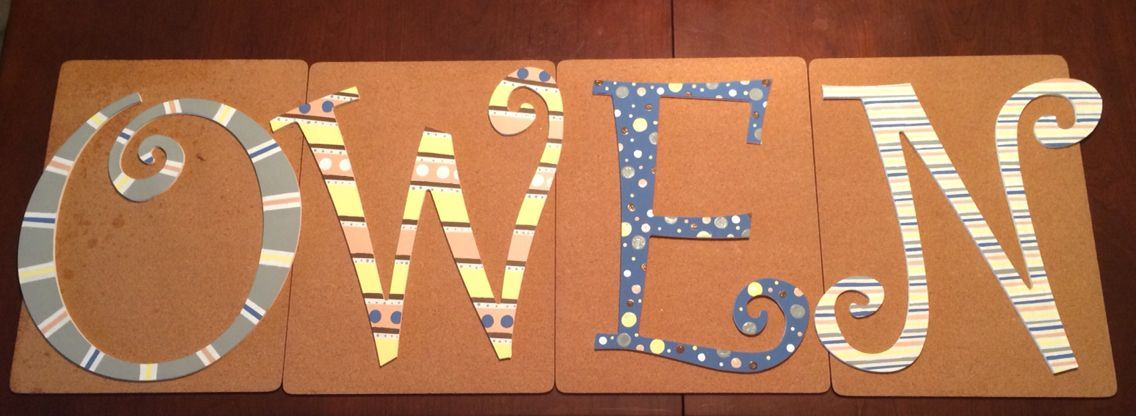 Wooden letters with acrylic paint I made for my cousins new baby boy  Wooden letters with acrylic paint I made for my cousins new baby boy
