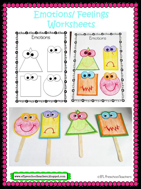 ESL/EFL Preschool Teachers Emotions Feelings Worksheets Craft Sticks  Puppets Feelings Activities Preschool, Emotions Preschool, Math  Activities Preschool