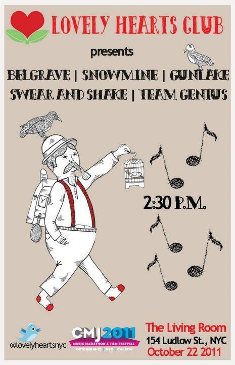 Lovely Hearts Club Presents: Belgrave. Snowmine. Gunlake. Swear and Shake. Team Genius.