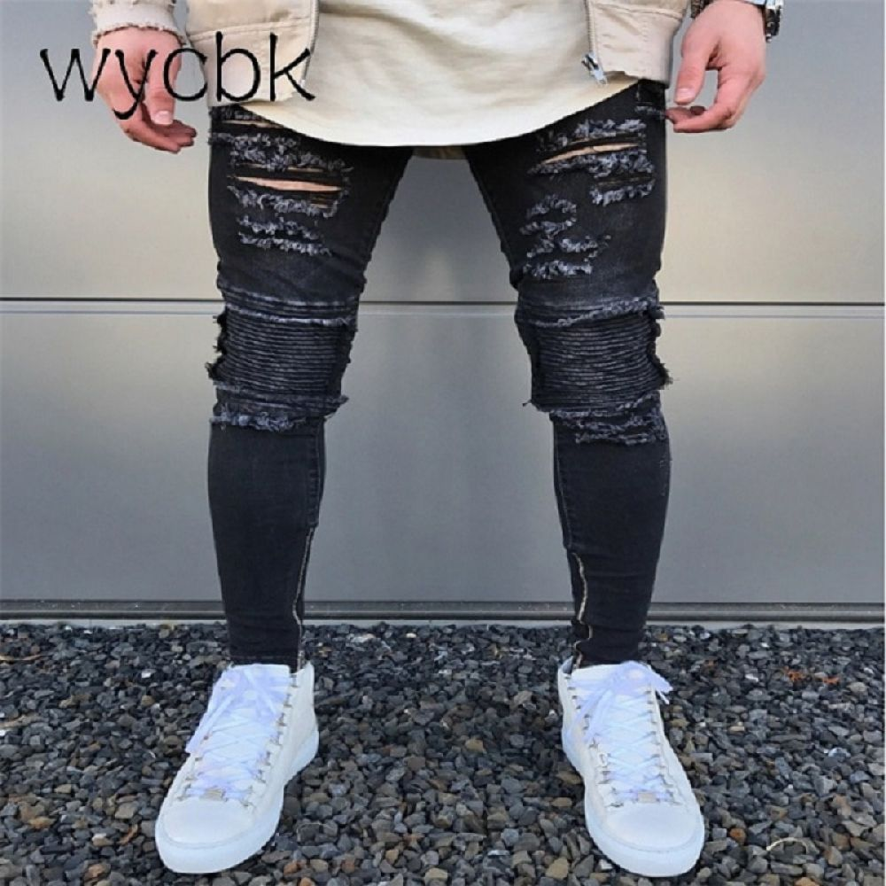 cf0906cb7c wycbk 2018 New Black Ripped Jeans Men With Holes Super Skinny Famous  Designer Brand Slim Fit