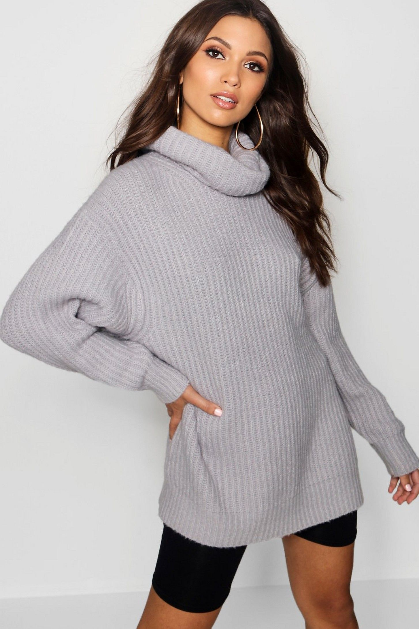 bb7fa446071de Oversized Roll Neck Rib Knit Jumper in 2019 | Birthday 2019 ...