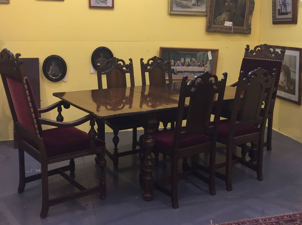 Antique Dining Room Tables And Chairs Antique Berkey & Gay Walnut Dining Room Set Table Chairs Buffet