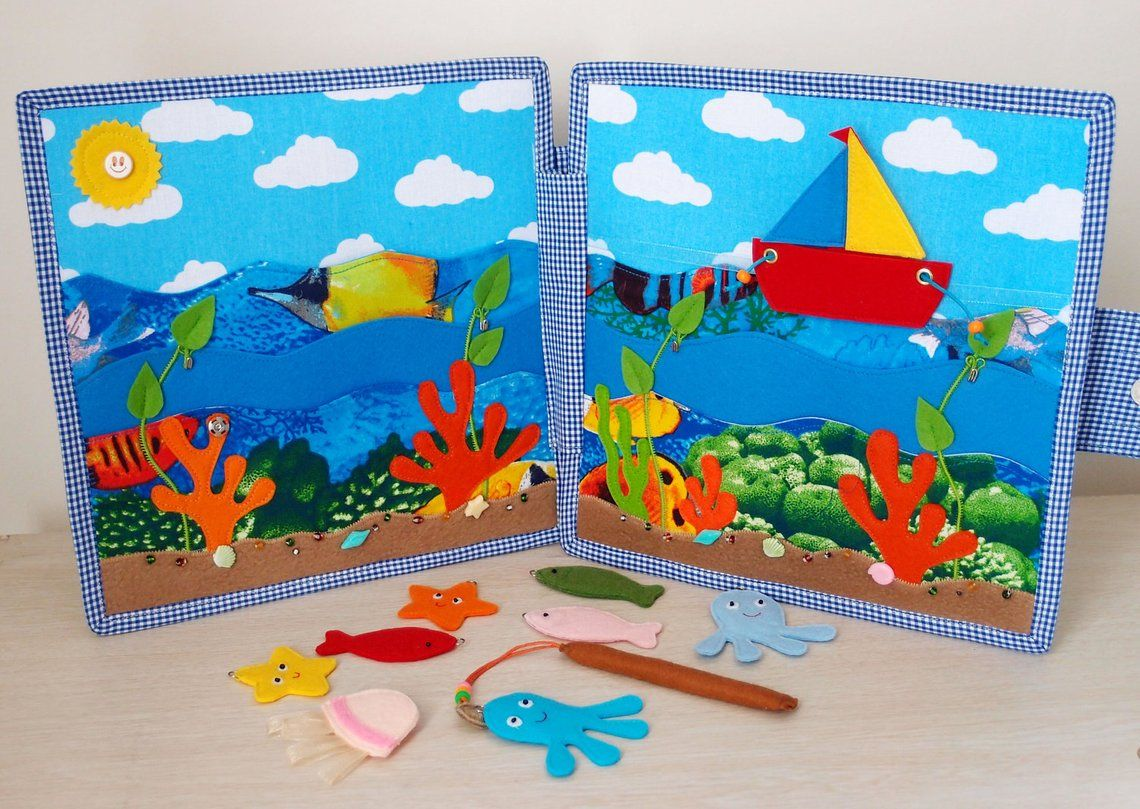 Sensory toy for toddlers Quiet book Felt toy Birthday gift Felt fishing game Montessori toy Busy book Magnetic fishing game