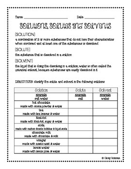 Mixtures & Solutions: Solute vs Solvent Handout | For the